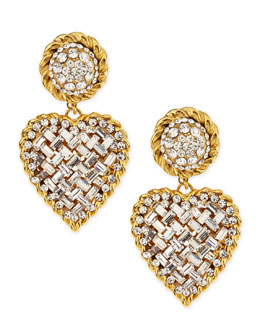 Jose & Maria Barrera Crystal Heart Drop Clip-On Earrings, Clear