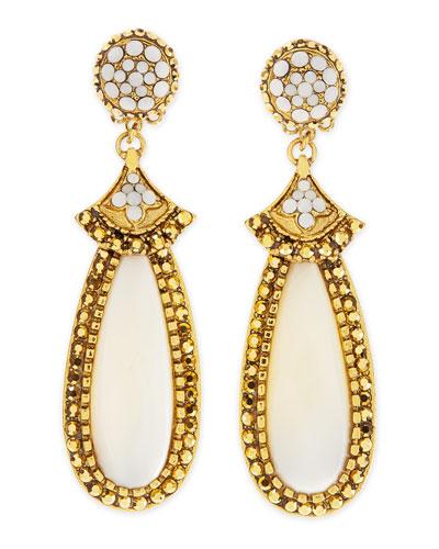 Jose & Maria Barrera Mother-of-Pearl Elongated Clip Earrings