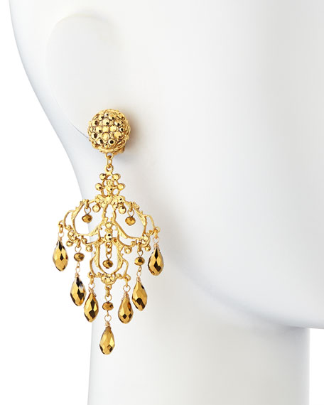 24k Gold Plated Filigree Chandelier Earrings