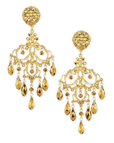 Jose & Maria Barrera 24k Gold Plated Filigree Chandelier Earrings
