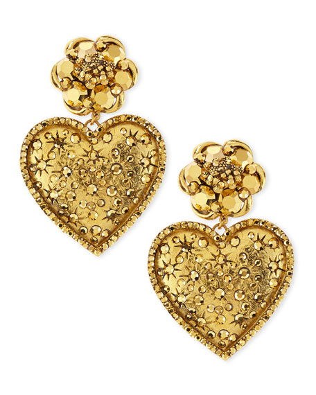 Golden Large Crystal Heart Drop Clip Earrings