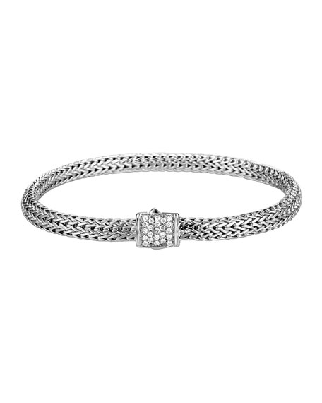 John Hardy Classic Chain Diamond-Clasp Bracelet