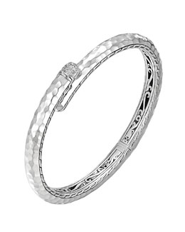 John Hardy Small Palu Silver Kick Cuff with Diamonds