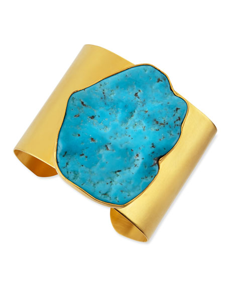 22k Plated Gold & Large Turquoise Cuff