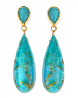 Dina Mackney 18k Vermeil Turquoise Teardrop Earrings