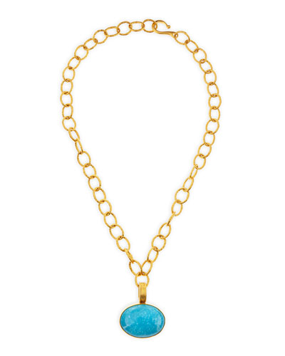 Dina Mackney 18k Vermeil Turquoise Enhancer Pendant Necklace