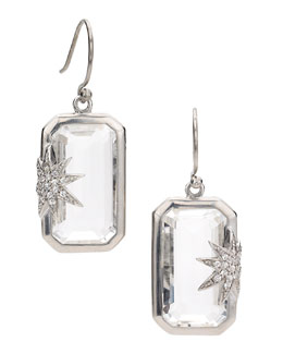 Elizabeth Showers Hope Sapphire-Star White Quartz Deco Earrings