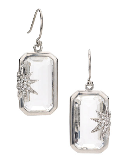 Hope Sapphire-Star White Quartz Deco Earrings