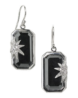 Elizabeth Showers Hope Sapphire-Star Hematite Deco Earrings