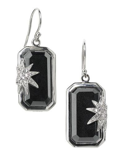 Elizabeth Showers Hope Sapphire-Star Hematite Deco Earrings