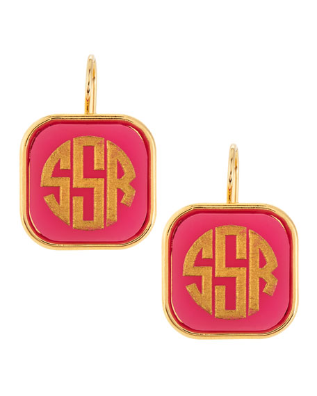 Moon and Lola Monogrammed Square-Drop Acrylic Earrings