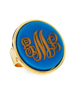 Moon and Lola Large Script-Lettered Circle Acrylic Monogram Ring