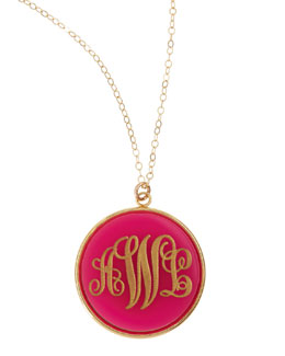 Moon and Lola Extra Large Circle Acrylic Script Monogram Pendant Necklace