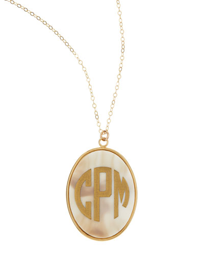 Extra Large Oval Acrylic Block Monogram Pendant Necklace