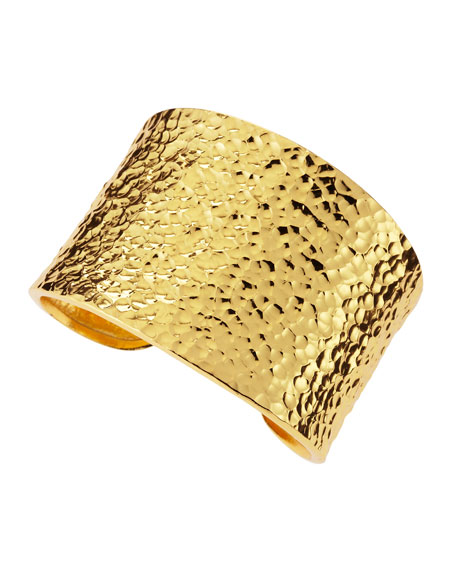 Hammered 22k Gold Plate Cuff
