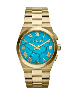 Michael Kors  Mid-Size Channing  Golden Stainless Steel Three-Hand Watch