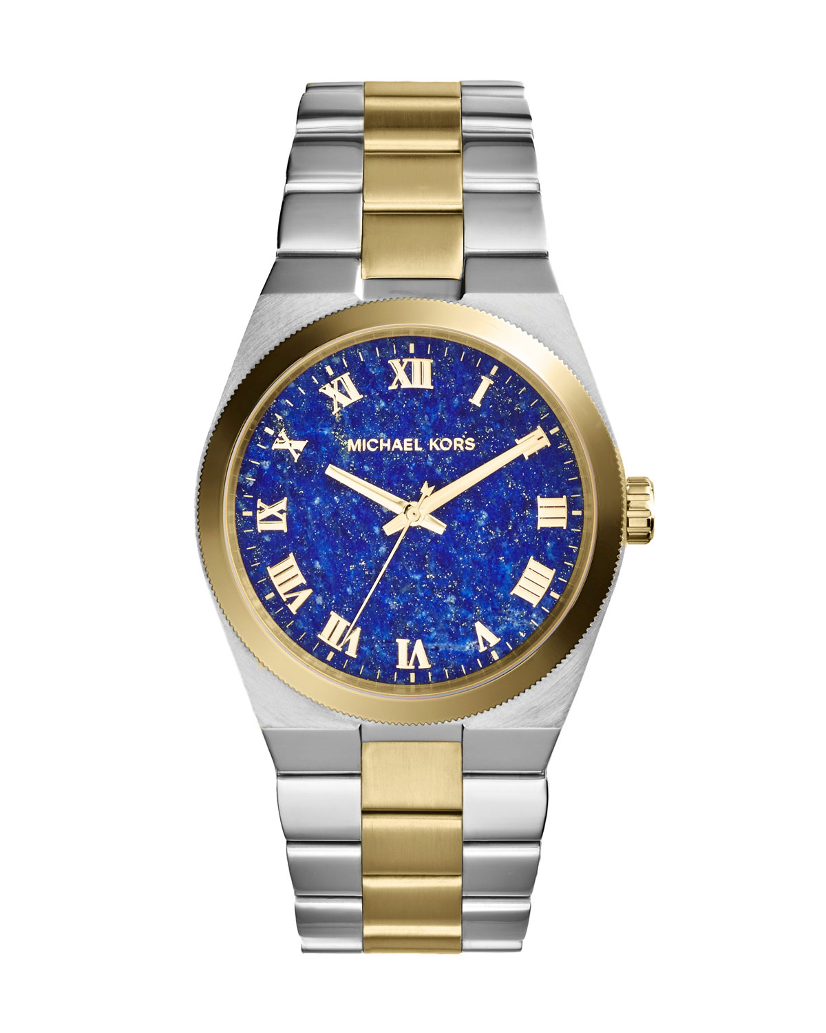 Mid-Size Channing Silver Color/Golden Stainless Steel Three-Hand Watch