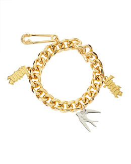 McQ Alexander McQueen Light Golden Love/Hate Charm Bracelet