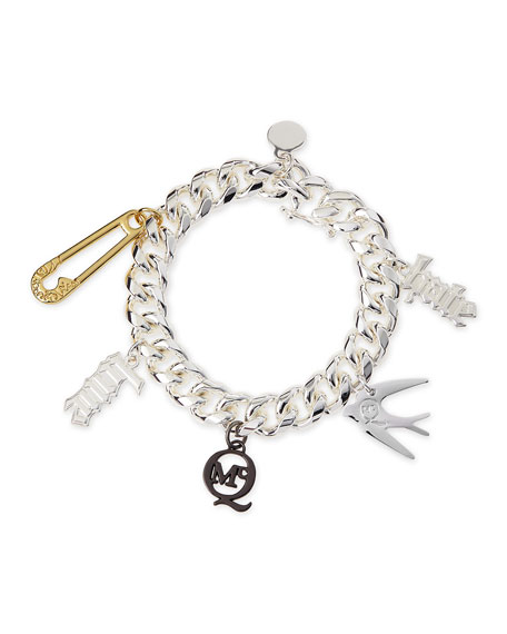 McQ Alexander McQueen Shiny Silvertone Love/Hate Charm Bracelet