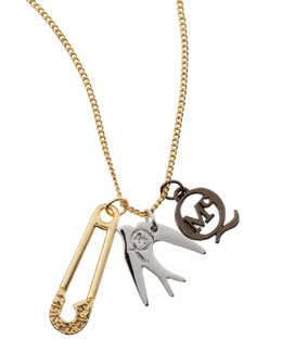 McQ Alexander McQueen Yellow Golden Pin, Sparrow & Logo Charm Necklace