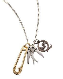McQ Alexander McQueen Silvertone Pin, Sparrow & Logo Charm Necklace