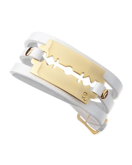 Razor-Blade Wrap Bracelet, White