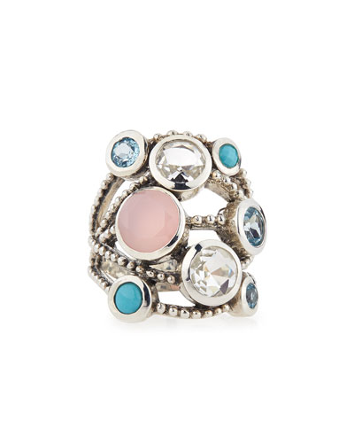 Blue Topaz, Rose Quartz & Crystal Ring, Blue