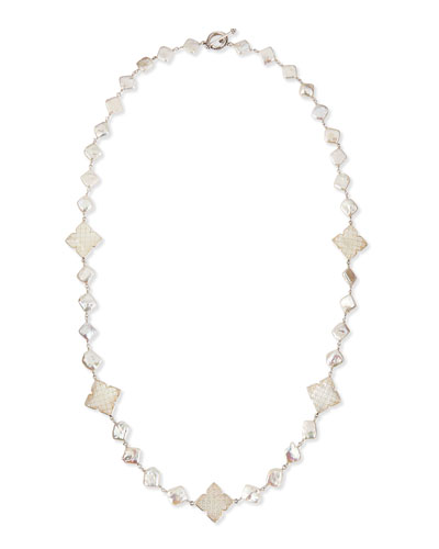 "Stephen Dweck Long Pearl Necklace with Mother-of-Pearl Clovers, 30""L"