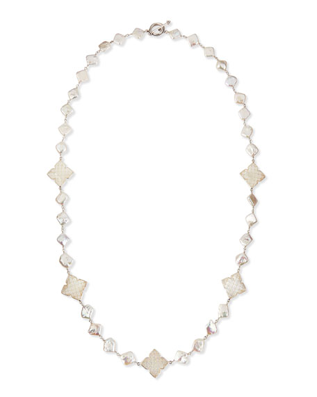 "Long Pearl Necklace with Mother-of-Pearl Clovers, 30""L"