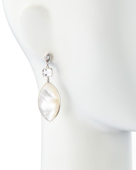 Rock Crystal & Mother-of-Pearl Marquise Drop Earrings