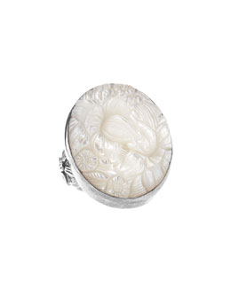 Stephen Dweck Floral-Carved Mother-of-Pearl Oval Ring