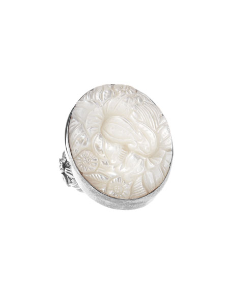 Floral-Carved Mother-of-Pearl Oval Ring
