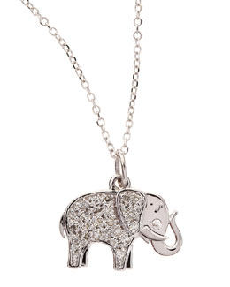 KC Designs 14k White Gold Diamond Elephant Pendant Necklace