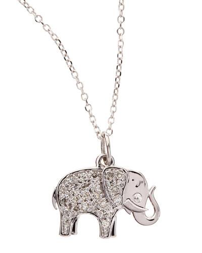 KC Designs 14k White Gold Diamond Elephant Pendant Necklace