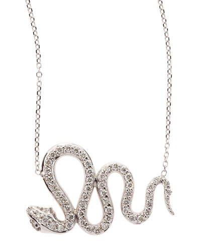 14k White Gold Diamond Snake Pendant Necklace