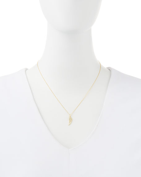14k Yellow Gold Diamond Wing Pendant Necklace
