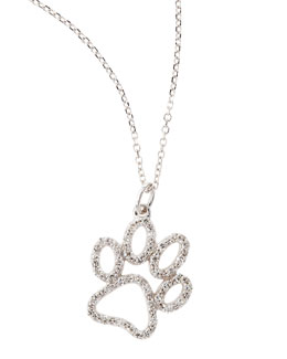KC Designs 14k White Gold Diamond Paw Pendant Necklace