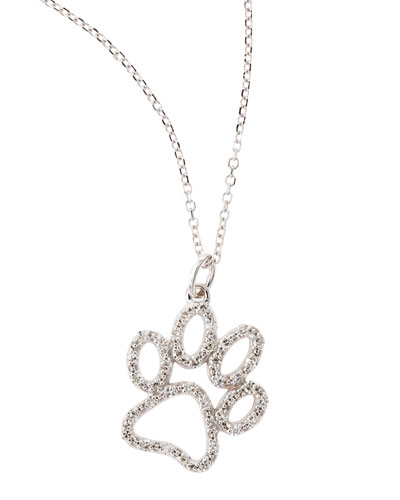 14k White Gold Diamond Paw Pendant Necklace