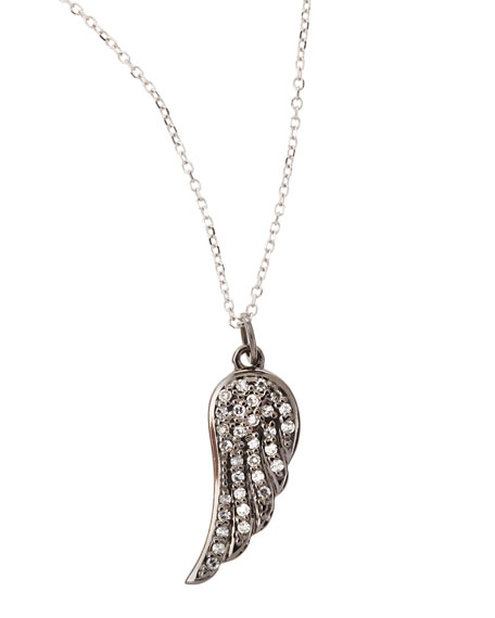 14k White Gold Diamond Wing Pendant Necklace