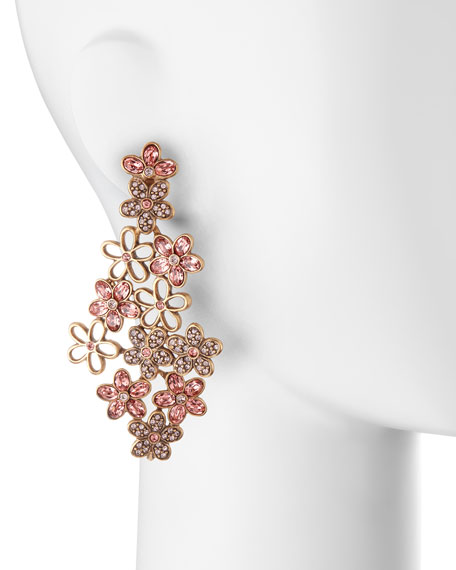 Crystal Daisy Clip-On Earrings, Sorbet Pink