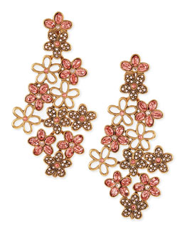 Oscar de la Renta Crystal Daisy Clip-On Earrings, Sorbet Pink