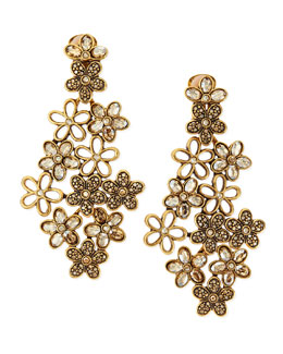 Oscar de la Renta Crystal Daisy Clip-On Earrings, Amber