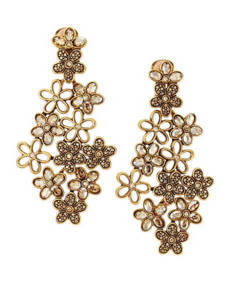 Crystal Daisy Clip-On Earrings, Amber