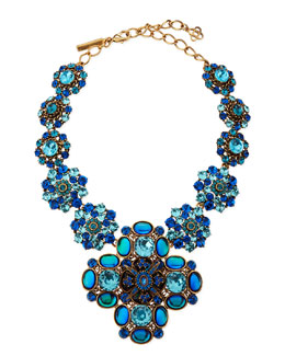 Oscar de la Renta Swarovski Crystal Necklace, Blue