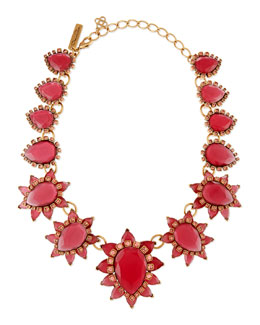 Oscar de la Renta Bold Pear Shaped Resin Crystal Necklace, Pink