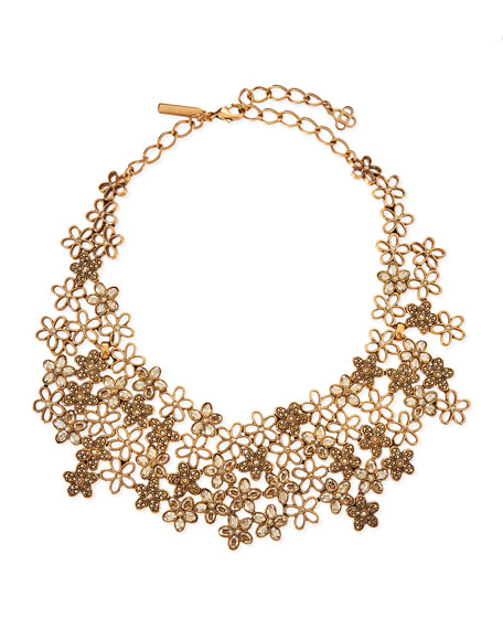 Crystal Flower Bib Necklace