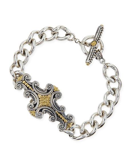 Silver & 18k Gold Decorative Scroll ID Bracelet