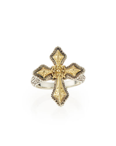 Konstantino Engraved Sterling Silver & Gold Cross Ring