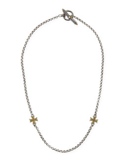 Konstantino Gold Cross Station Necklace