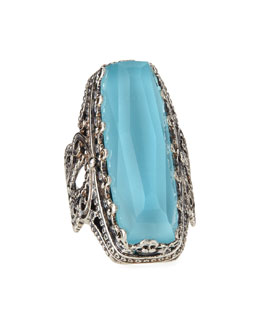 Konstantino Faceted Turquoise & Rock Crystal Doublet Ring